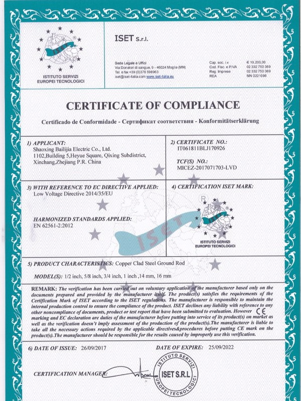 Balic CE Certification of Copper Clad Steel Ground
